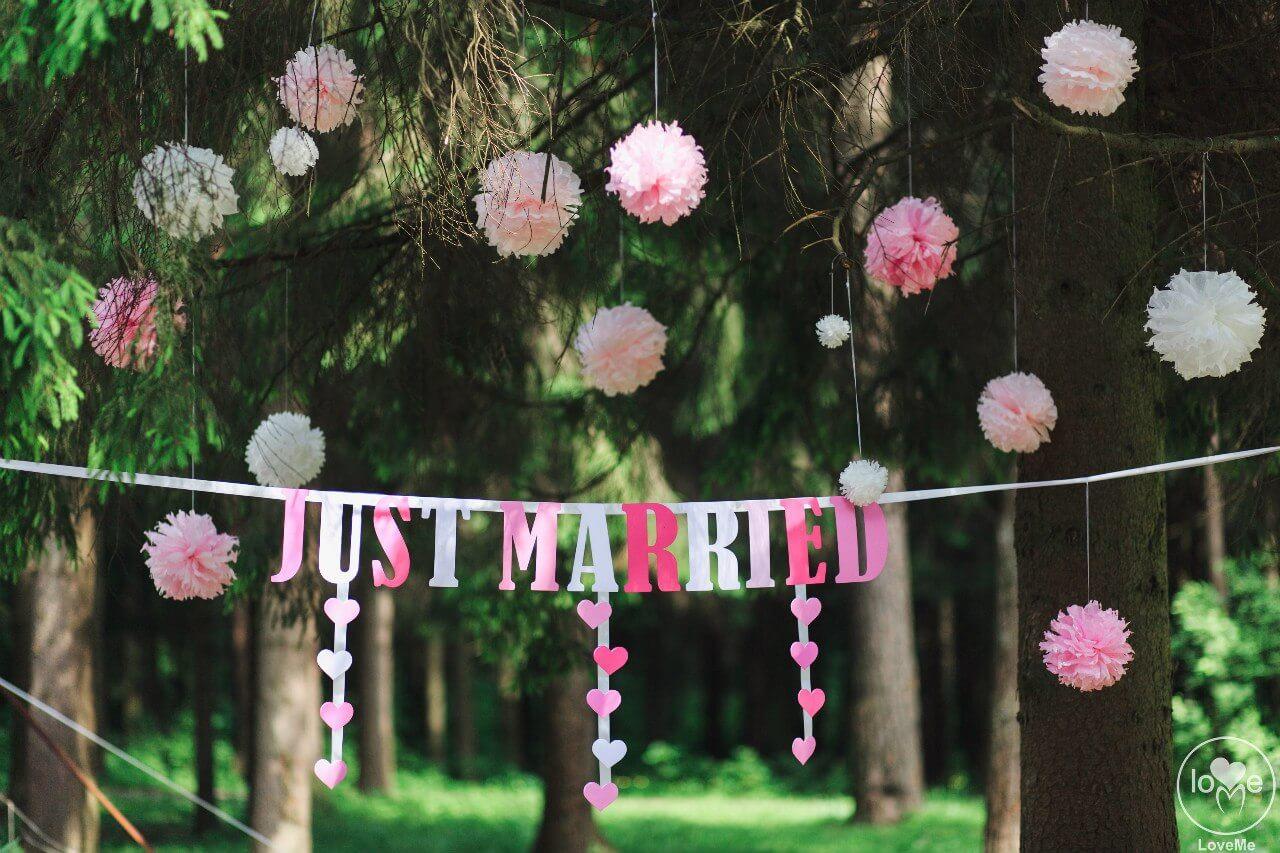 фотозона пампоны свадьба бело-розовая в стиле сваровски выездная регистрация декор банкета свадебное агентство ЛавМи Могилев печерское предместье