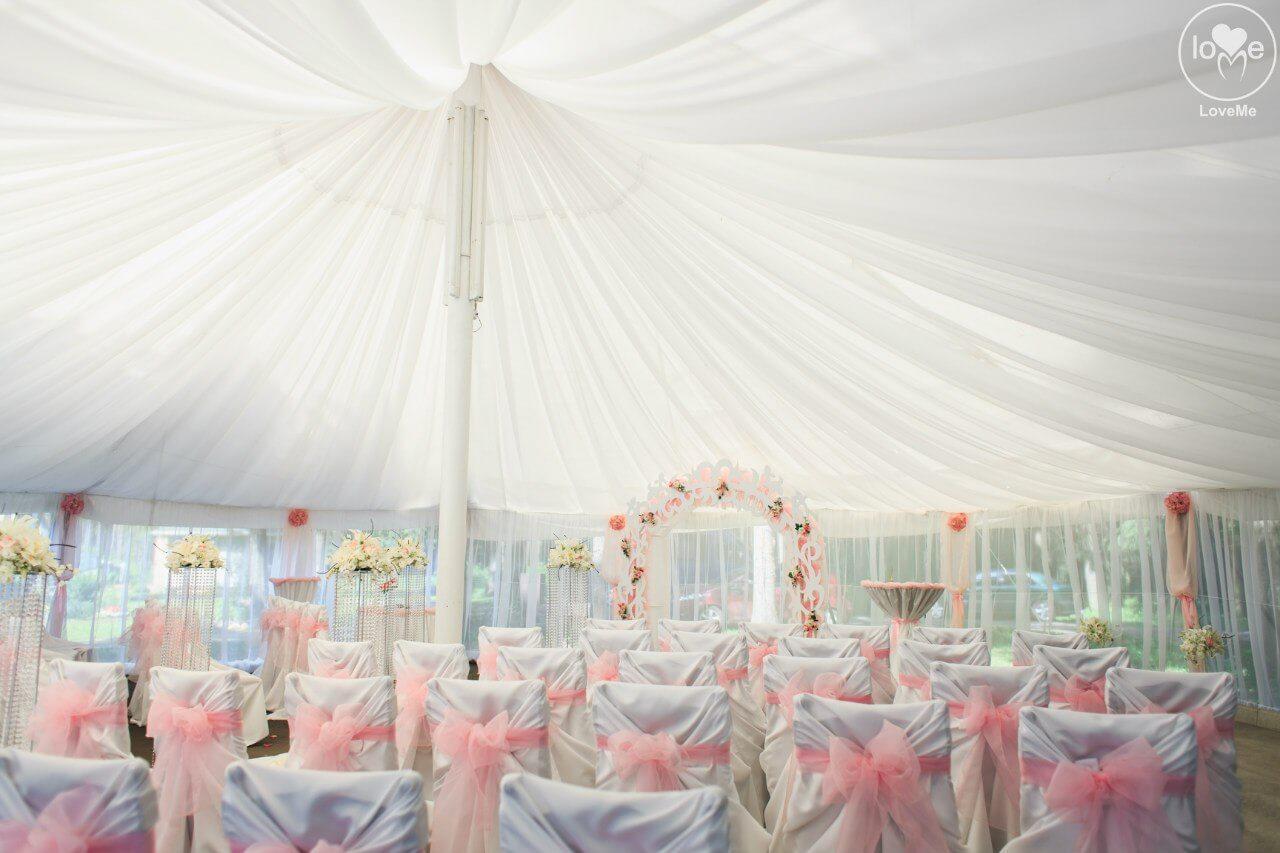 декор шатра потолок из ткани свадьба бело-розовая в стиле сваровски выездная регистрация декор банкета свадебное агентство ЛавМи Могилев печерское предместье